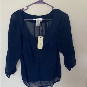 Sheer navy blouse with top by Studio M, XS